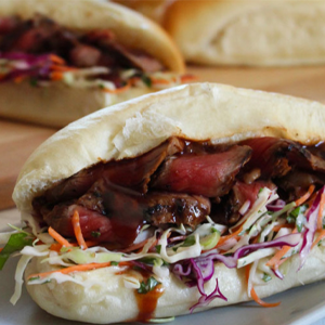 Beerenberg BBQ Steak Buns with Fresh Slaw