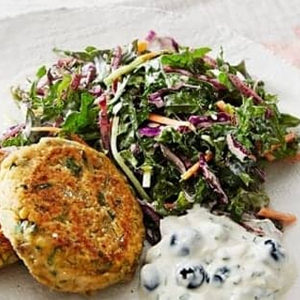 Chickpea patties with blueberry raita