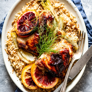 Oven Roasted Orange Chicken with Fennel