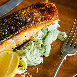 Crispy Skin Salmon with Fennel & Celery Remoulade