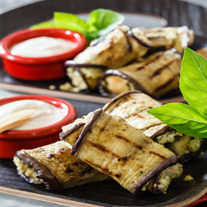 Char Grilled Rolled & Stuffed Eggplant Recipe