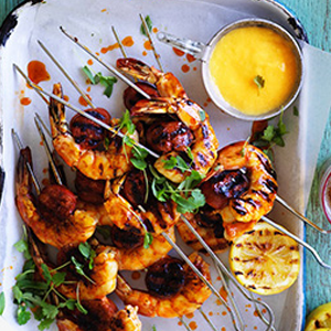 Aussie Prawn & Snag Skewers Australia Day Recipe