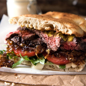 Gourmet Steak Sandwich with Caramelised Onion Australia Day Recipe