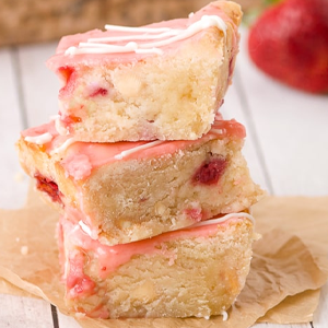 Strawberry Lemon Blondies Valentine's Recipe